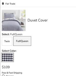 Queen navy and white gingham duvet cover